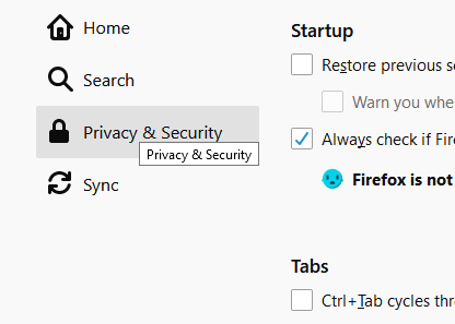Select the 'Privacy & Security' button