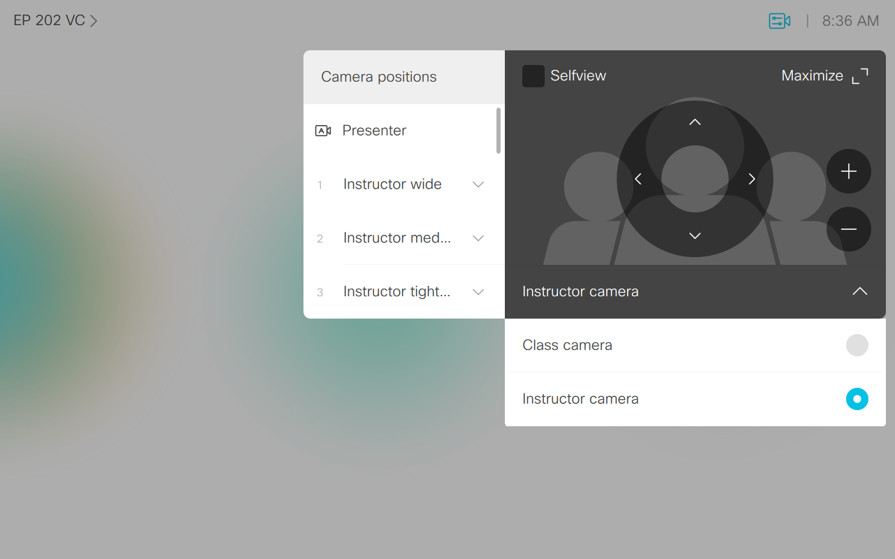 Screen displaying the camera controls with options for other cameras open.