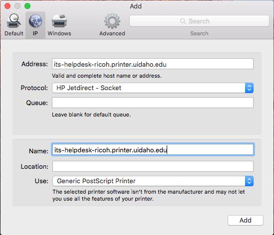 Generic PostScript Printer Driver