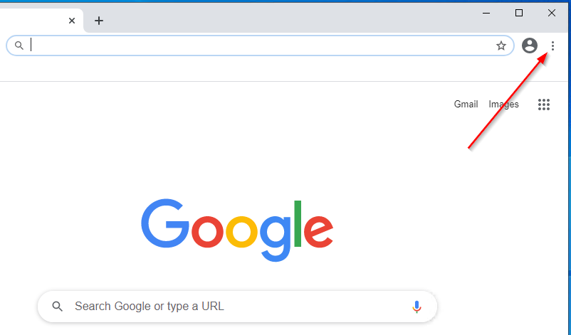 Chrome browser open, click the 3 dot icon