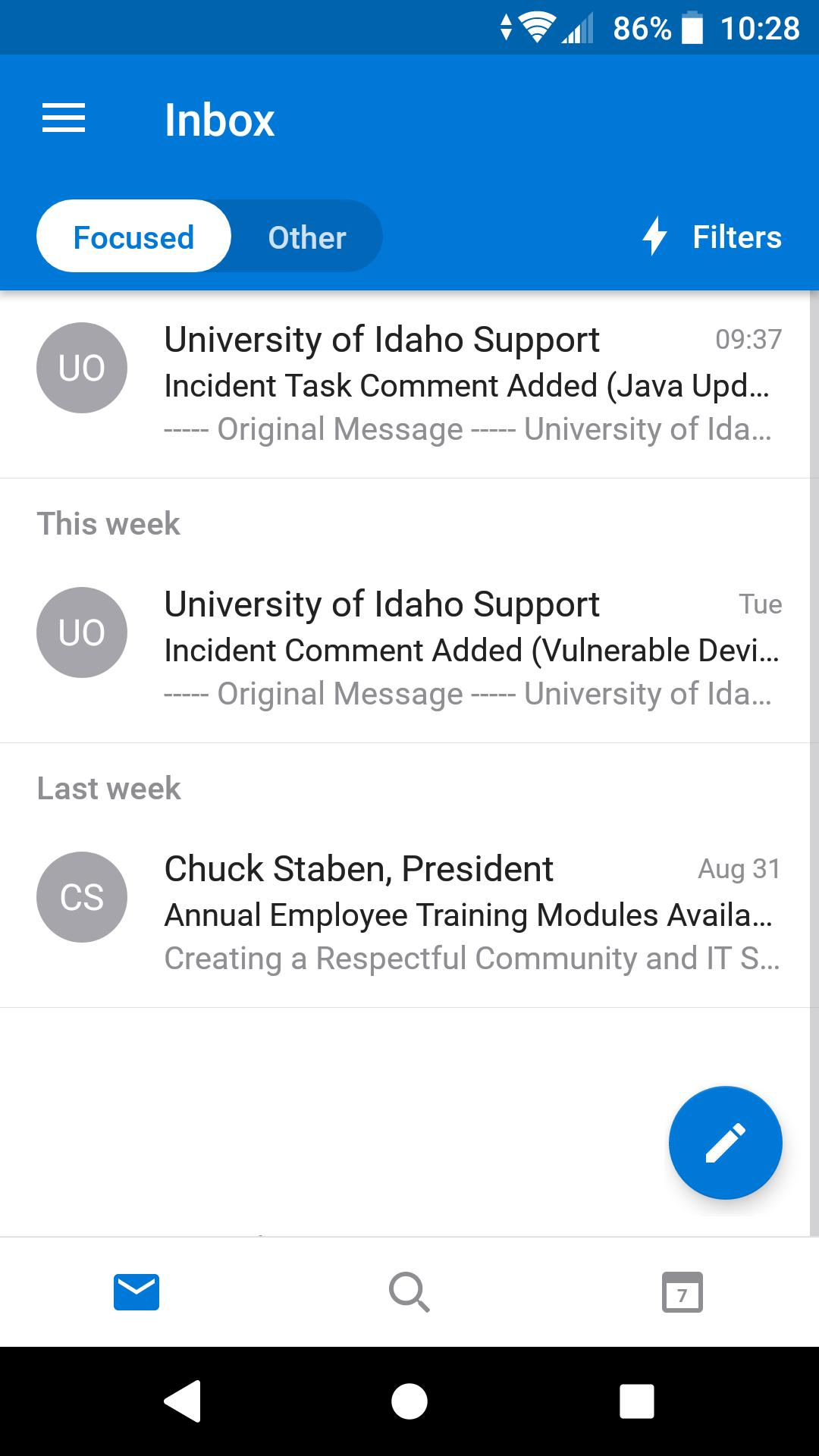 Outlook app inbox, process is complete