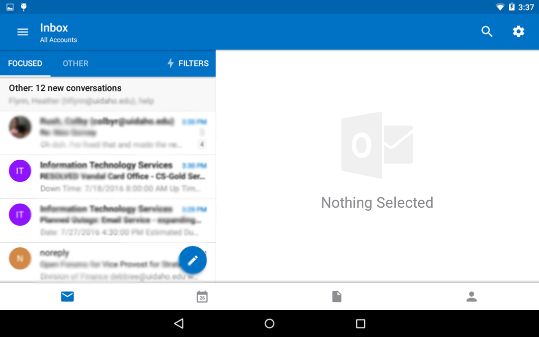 Screenshot of the Outlook application with the Inbox set up.