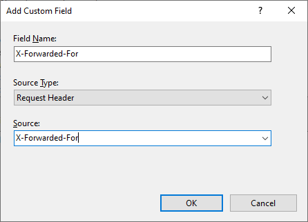Enter X-Forwarded-For custom field