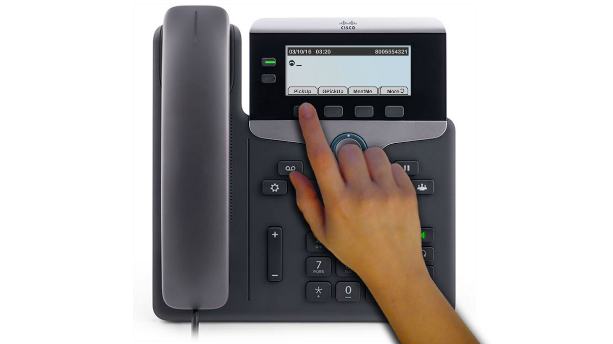 "To answer a call that is ringing another extension within your group, press an available line button. You may need to press the ""More"" softkey and the PickUp softkey."