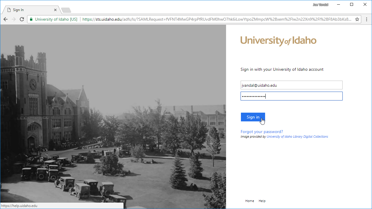 Screenshot of UIdaho login page