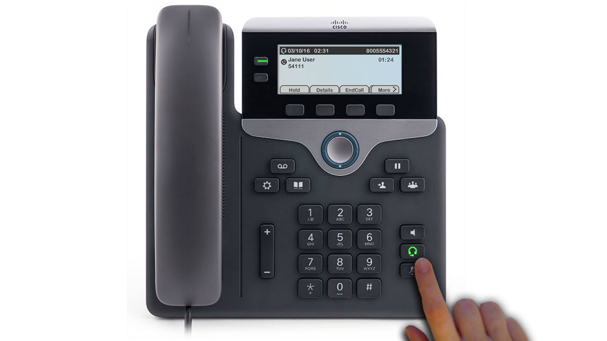 Image highlighting a green headset button, between the mute and speaker buttons, on the phone.