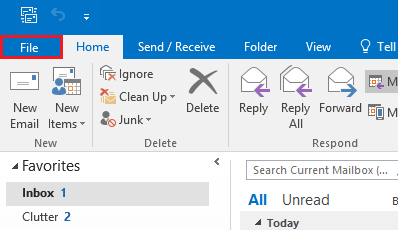 Screenshot of the file tab highlighted in Outlook.