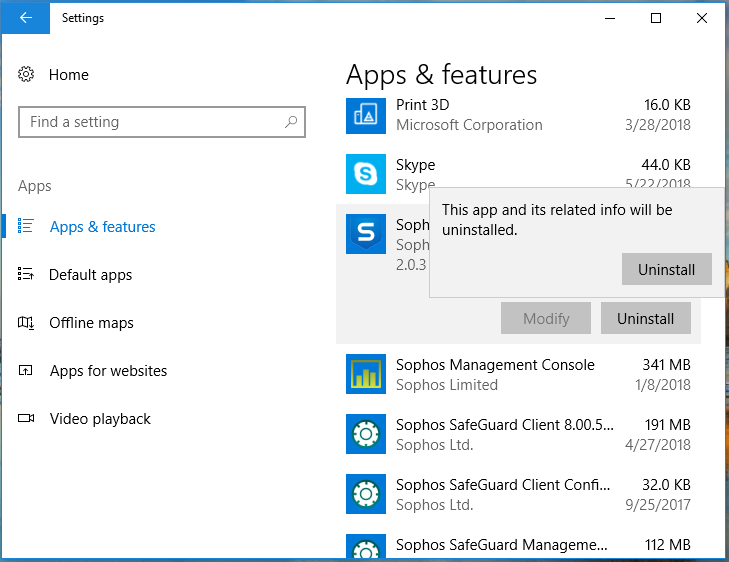Screenshot of installed apps