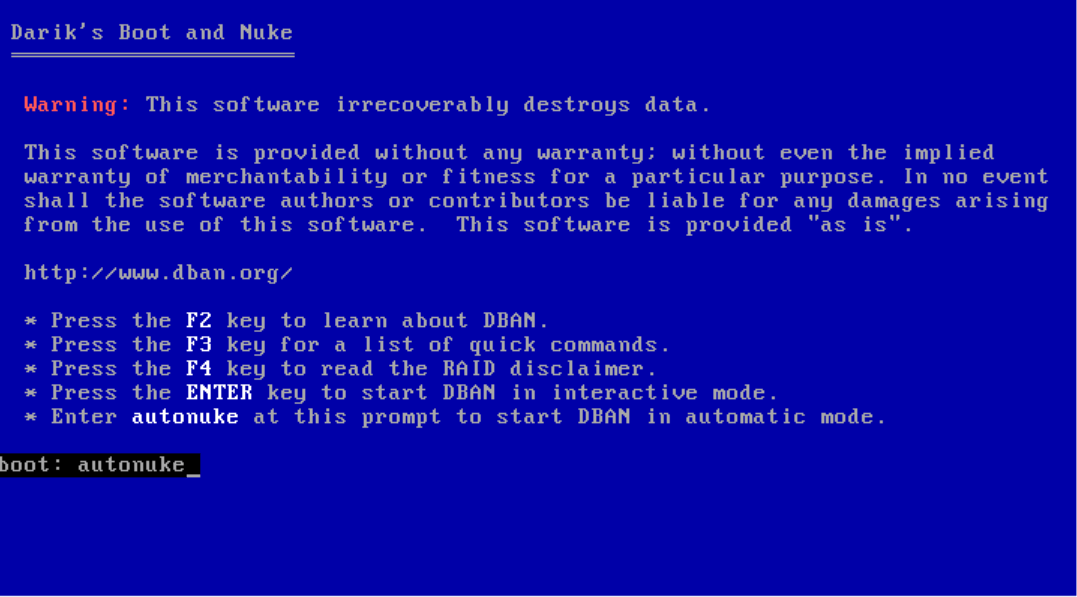"""Screenshot of the boot screen with """"autonuke"""" typed into the Boot command."""