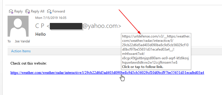 Example of URL Defense in action
