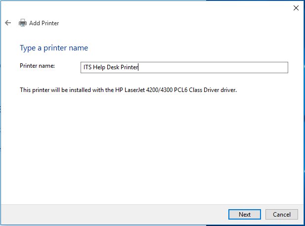 Enter in a name for your newly installed printer.