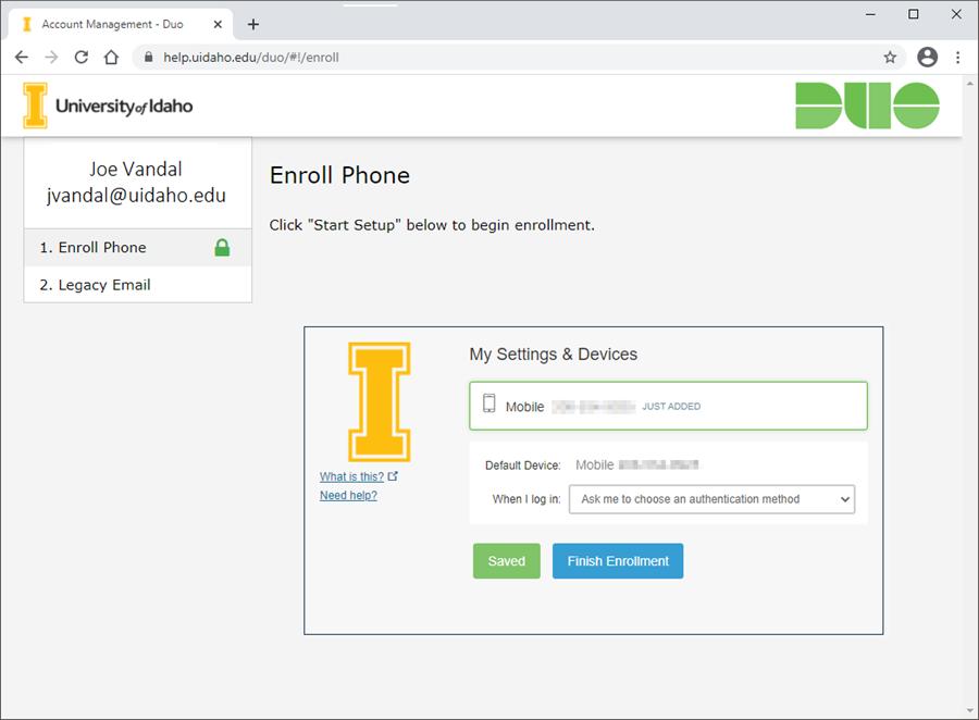 Screenshot of enrollment complete page